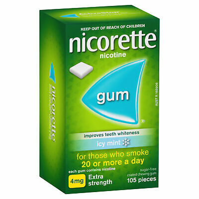 Nicorette Gum 4mg 105 Pieces Icy Mint Smokers Aid Nicotine Replacement Therapy