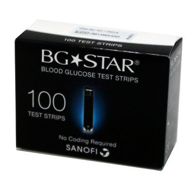 BG Star Blood Glucose 100 Test Strips Monitor Diabetic Patient Care