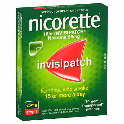 Nicorette 16hr Invisipatch 14 Patches  Smokers Aid Nicotine Replacement Therapy