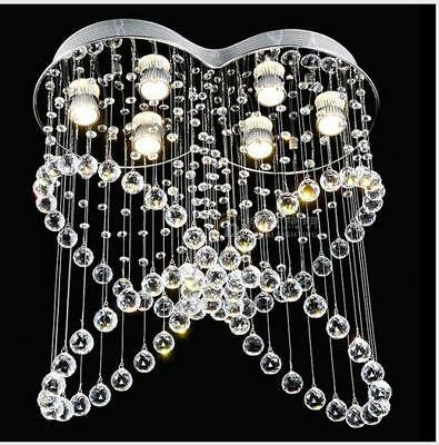 Crystal Lamp Chandelier Lights Flush Mount Butterfly Rain Drops Ceiling Fixtures