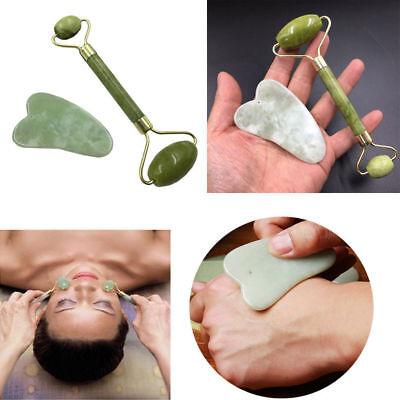 Double Head Green Jade Roller Massager Eye Face Neck Facial Relax Slimming Tool