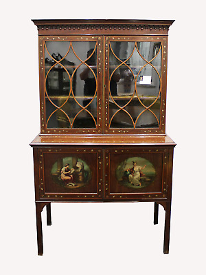 A Beautiful Victorian Mahogany And Painted Bookcase