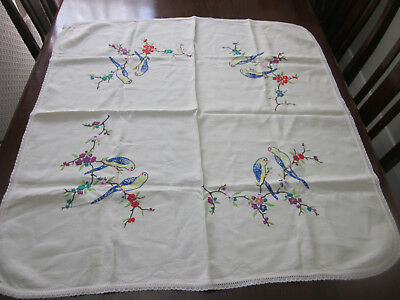 Vintage Hand Embroidered Budgerigars In Blossom Trees Tablecloth
