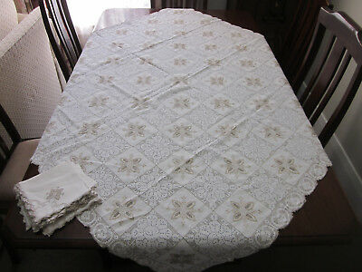 Gorgeous Vintage Army Navy Tablecloth With 6 Matching Napkins