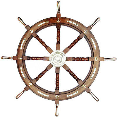 Halloween Ship Wheel 36 Inches Anchor & Strips with Brass Handles Wall Decor