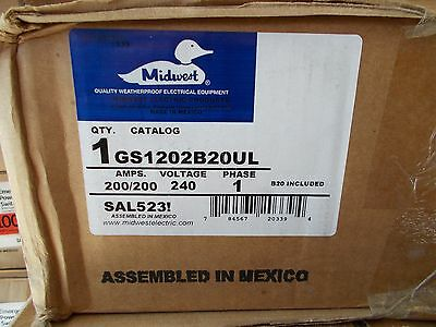 midwest GS1202B20UL 200/200amp 240v 1ph double throw disc