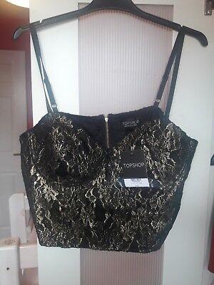 bacc593b932a5 BNWT Topshop Size 16 Jacquard Lace Zip-up Underwired Bustier Crop Top RRP  £36