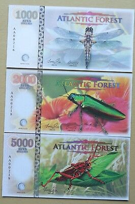 Atlantic Forest  3 X Different Insects / Fantasy Notes Upto 5000 Aves 2016