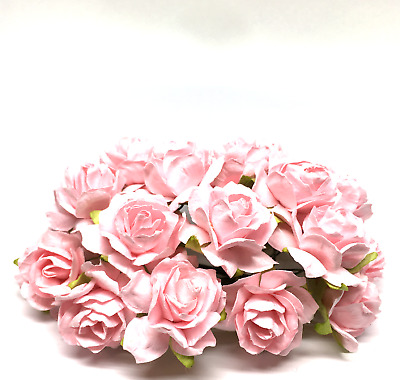 Light Pink Classic Mulberry Paper Roses Flowers Crafts Card Making