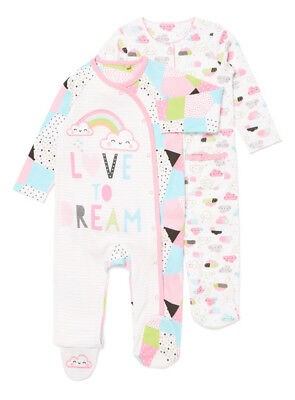 "Pack Of 2 Baby Girl Multicoloured Sleepsuits ""love To Dream"" Newborn"