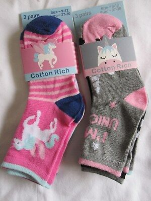 "Bnwt- 6 ""Unicorn"" Ankle Socks 6 Colours - 9-12, 12.5-3.5,6-8.5 Free Post Uk Only"