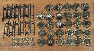 Large lot of Vintage Mid Century Drawer Pulls & Knobs M & S Brand 64 Pieces