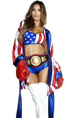 Forplay Get Em' Champ Red, White & Blue Boxer Fighter 4pc Costume