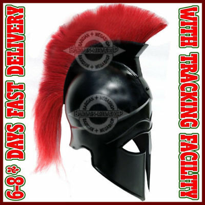 Greek Corinthian Helmet with Red Plume, Armor Sca Medieval Knight Spartan Helm