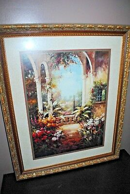 """Very Large Home Interiors Picture Flowers Garden Arches Signed Everett  34"""" x 28"""