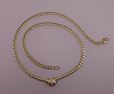 Collier 585 Halskette Damen Diamant Solitär Gelbgold 14kt Gold Brillant 0210