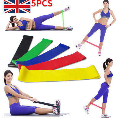 Set of 5 Resistance Exercise Loop Band Home Gym Fitness Premium Natural Latex UK
