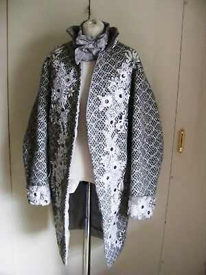 GM8 Theatrical Georgian Frock Coat & stock silver grey white flowers size 46 ""