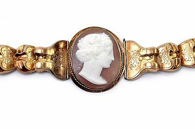 Early 1800s Very Large and Glamorous True Antique Royal Cameo Gold Bracelet Rare