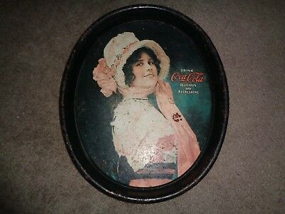 Antique 1914 Betty Girl Coca Cola Metal Tray Lithograph Authentic Coke Advertise
