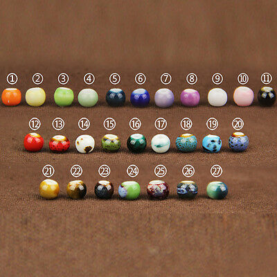 50/100/200PCS 6mm Ceramic Loose Round Beads DIY Ball Jewelry Making Accesories