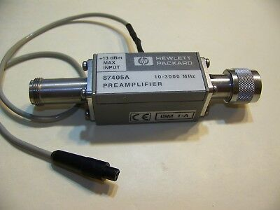 HP 87405A 10-3000MHz 22dB pre-amplifier for spectrum analyzers etc with DC jack.