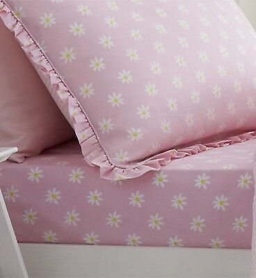 Daisy Dreamer Easy Care Double Fitted Sheet Pink