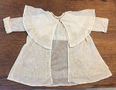 Antique Vintage French Doll Child's Coat hand sewn with elaborate decoration