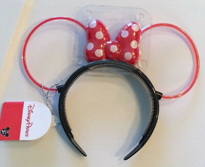 Disney-Parks-Light-Up-Minnie-Mouse-Headband-Red-Polka-Dot-Bow-Ear-Outline-Age-3+