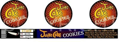 Jaffa Cake Cookies Cali Tin Labels (16 Stickers)