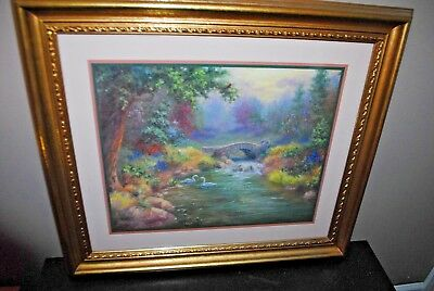 """Home Interiors Framed Wall Picture J Mize  Bridge Swans 25"""" x 29"""" Large"""