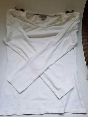 Burberry Long Sleeve-White with Burberry Bows on Shoulders Kids Size 14y