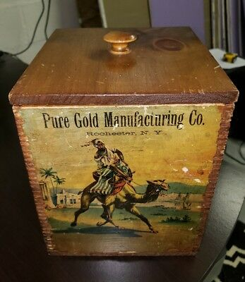 Pure Gold Manufacturing Co. Rochester, NY Wood Dovetailed Baking Powder Box