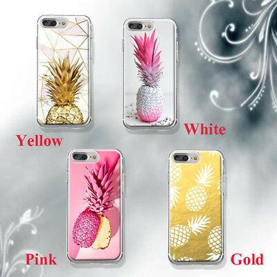 Silicone Pineapple Soft TPU Transparent Back Case Cover For iPhone X 6s 8 7 Plus