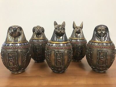 SET OF 5 - Egyptian Gods Bastet, Horus, Anubis, Imsety, Hapi Canopic Jars