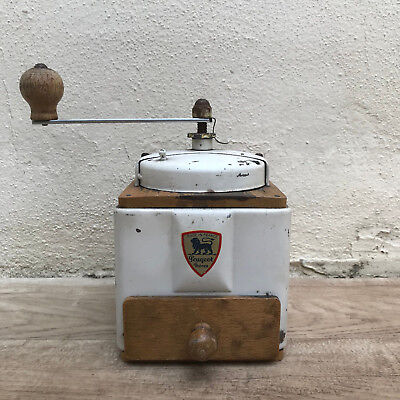 Vintage French Peugeot Freres Coffee Grinder White Metal 04091814