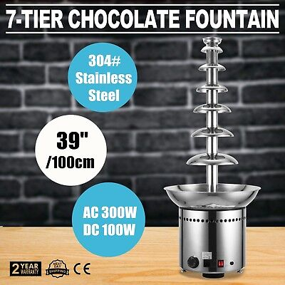 7 Tiers 100cm Tall Chocolate Fountain Foundue Machine Gift Party Dipping 39""