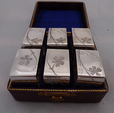 Antique Silver Plated Napkin Rings boxed x 6 A602017