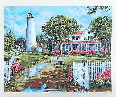 COMPLETED PAINT BY NUMBER PAINTING Ocean Seascape Beach House & Lighthouse 16x20