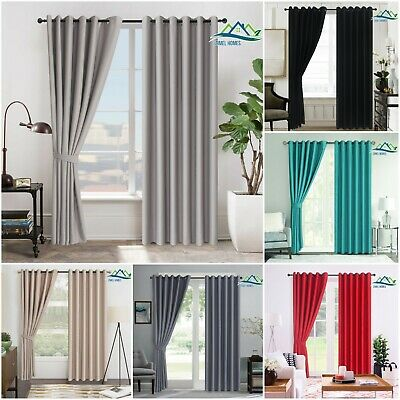 Thermal Blackout Window Curtains Eyelet Ring Top With Tie Backs Blocks Sunlight