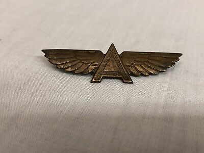 Vintage Flying A Gasoline Pinback Pin Button 1930's (Brass) Super Rare