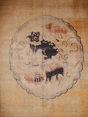 Worn Handmade rug Antique Chinese Pattern rug large rare carpet foo dogs 1930s