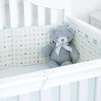 TILLYOU Baby Breathable Crib Bumper Pads for Standard Cribs 4PC COLA BEAR GREEN