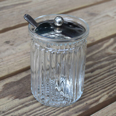 Vtg GODINGER Crystal Jam Jelly Relish Jar with Silver-plated Lid and Spoon Italy