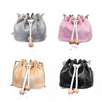 Women Bag With Sequins Bucket Bag Crossbody Bags For Women Fashion PU Leather DS