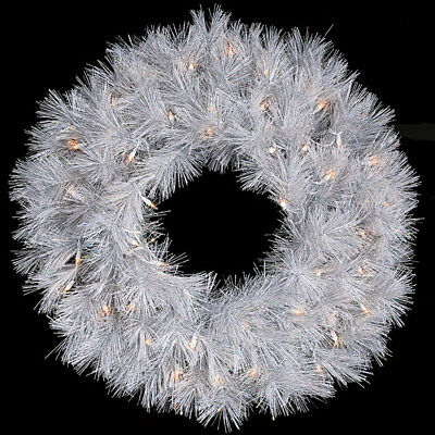 "30"" Artificial Hudson Pine Lighted Hanging Wreath -White"