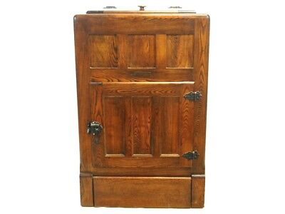 """Antique Berkshire 40"""" Oak Ice Box Early 1900's Great for Camp"""