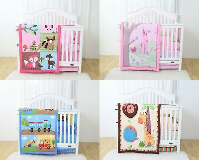4 Piece Crib Baby Bedding Nursery Set Includes Designs for Boys & Girls