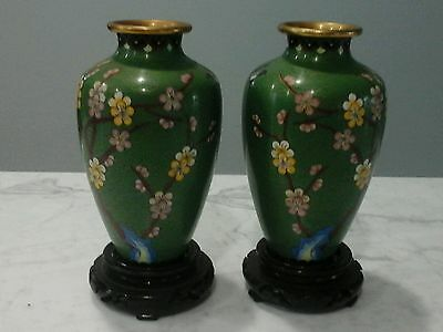 """Vintage China Chinese 6"""" Cloisonne Matched Pair Vase Brass Enamel Green w Stands"""