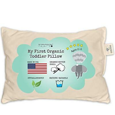 Toddler Pillow - ORGANIC Cotton MADE IN USA  Washable Unisex kids pillow - 13X18